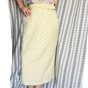 80's does 60's yellow polka dot midi skirt
